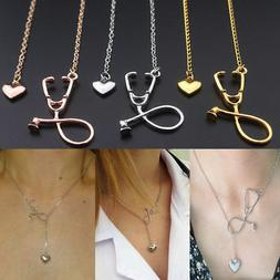 1Pcs Heart And Stethoscope Charm Pendant Necklace For Medica