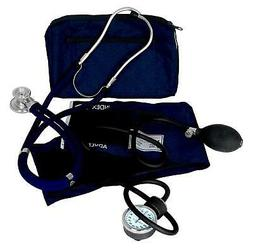 Adult Manual Blood Pressure Cuff AND Stethoscope Blue Medica
