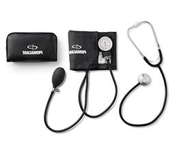 adult manual blood pressure cuff and stethoscope