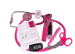 Breast Cancer Awareness Nurse Kit W/ Hot Pink Stethoscope &