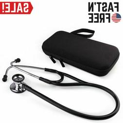 Double Dual Head Stethoscope Stainless Steel Chestpiece Blac