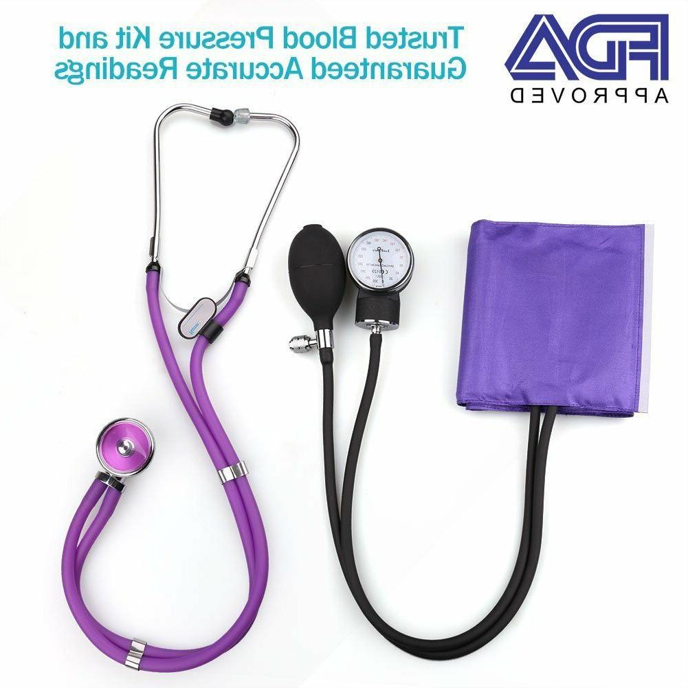 Aneroid Sphygmomanometer Stethoscope Kit Manual Blood Pressu