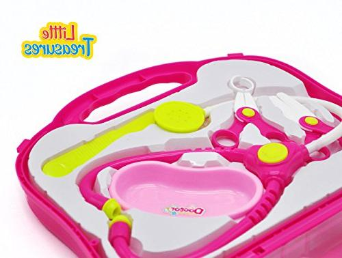 Doctor Medical pink sturdy plastic carrying case, loaded stethoscope, tray, and 3+