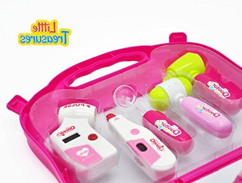 Doctor Medical pink colored, carrying loaded stethoscope, scissors, tray, thermometer and 3+ girls