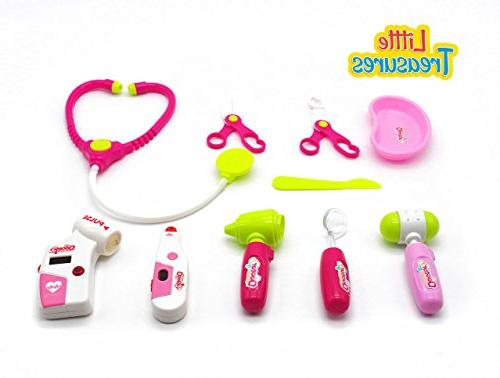 Doctor pink colored, sturdy stethoscope, medical scissors, tray, powered thermometer and 3+ girls