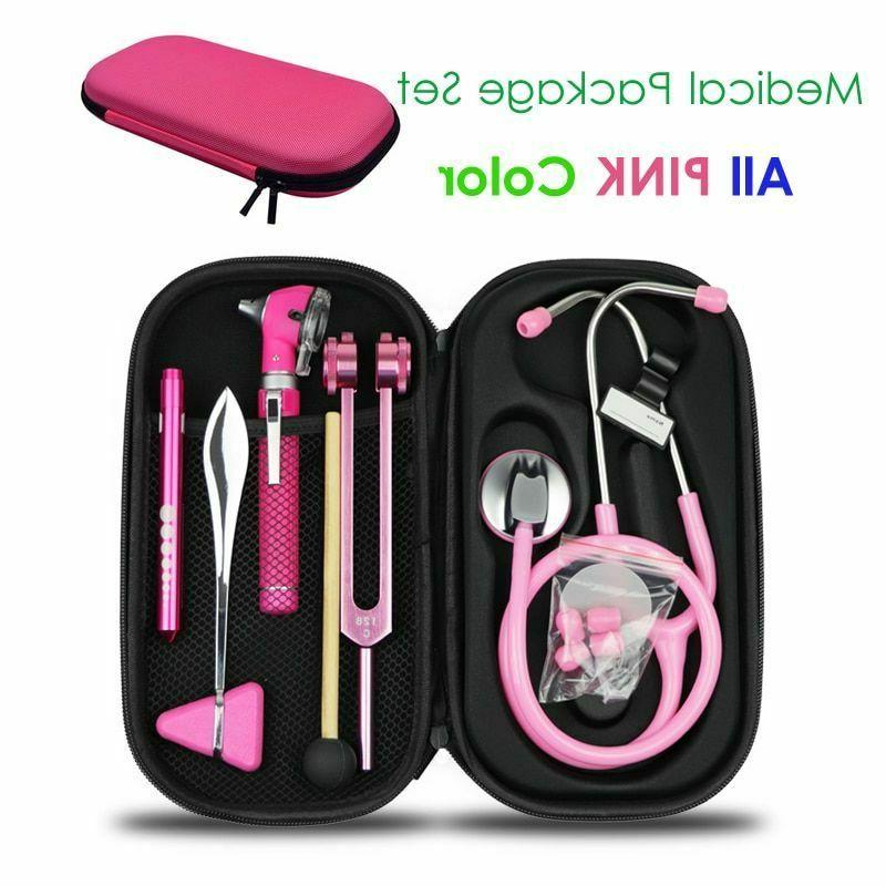 Medical Bag Pouch Set Stethoscope Otoscope Tuning Fork Refle