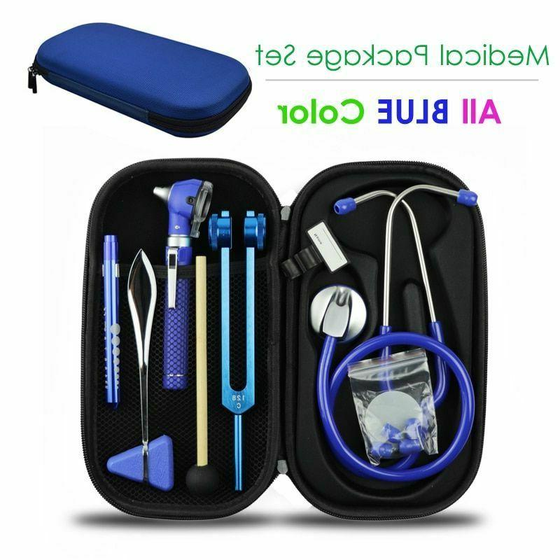 Blue Medical Bag Pouch Set Stethoscope Otoscope Tuning Fork