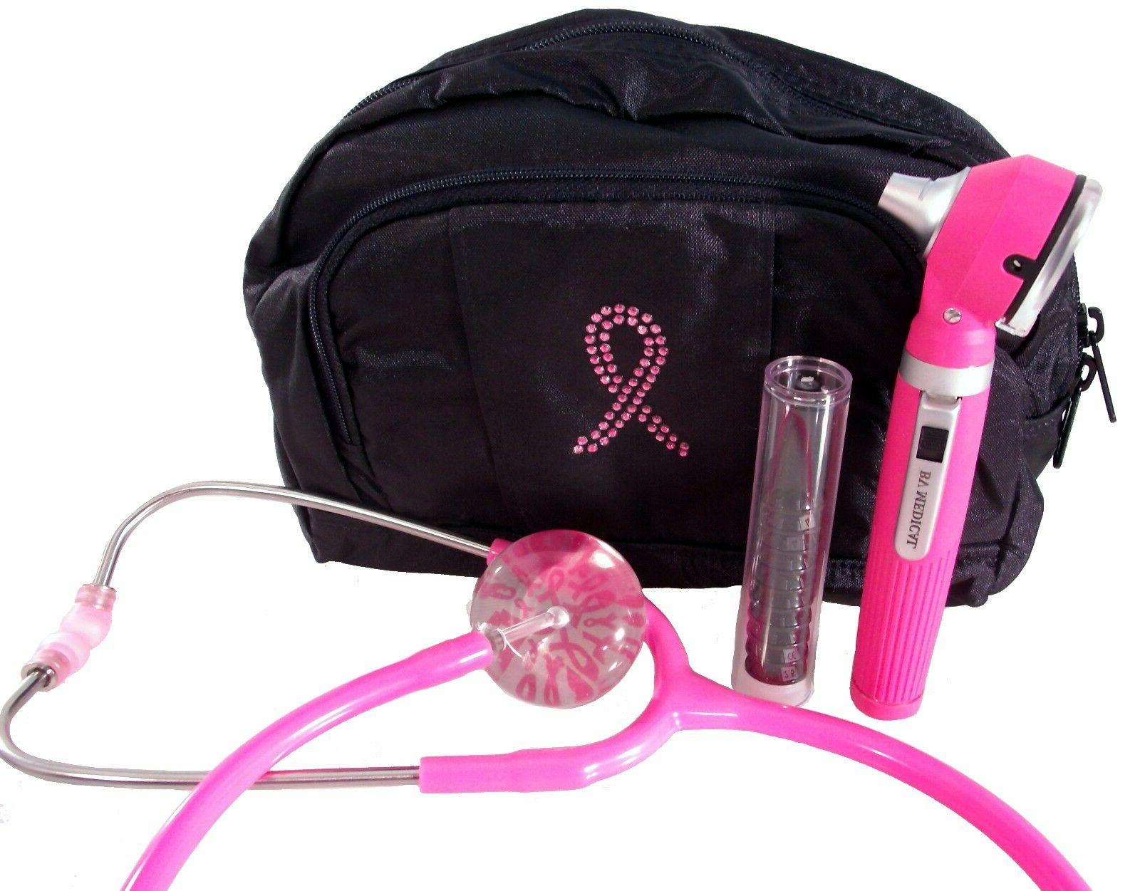 Pink Breast Cancer Bling Bag W/ Pink Stethoscope and Pink Ot