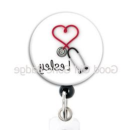 Retractable Badge Reel - Red Heart Stethoscope - Personalize