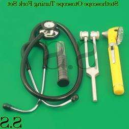 Yellow ENT Mini Otoscope+Tuning Fork+ Stethoscope Diagnostic